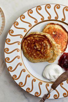 Lemon Poppy-Seed Pancakes with Greek Yogurt and Jam Recipe - NYT Cooking