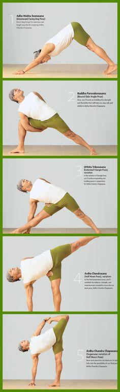 steps to half moon pose via yoga journal