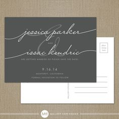 Handwriting Simplicity Modern Wedding Save the Date postcard by ©MalloryHopeDesign