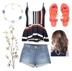 """""""beach/flower/summer"""" by abbeyelizabeth5 ❤ liked on Polyvore featuring Rebecca Minkoff, J Brand, Melissa, Carolee and Pier 1 Imports"""