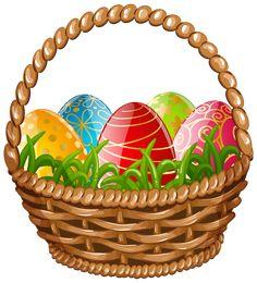 Easter Egg Basket PNG Clip Art Image