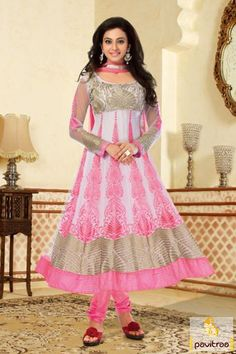 Pavitraa Classy #Grey and #Pink #Anarkali Salwar Suits