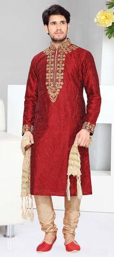 14723 Red and Maroon color family Kurta Pyjamas in Art Silk fabric with Cut Dana,Lace,Machine Embroidery,Stone work . Mens Sherwani, Kurta Men, Wedding Sherwani, Gents Kurta, African Wedding Attire, Indian Kurta, Pakistani, Kurta Style, Indian Costumes