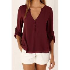 Chic Women's V-Neck Button Design Long Sleeve Blouse (WINE RED,L) in Blouses | DressLily.com