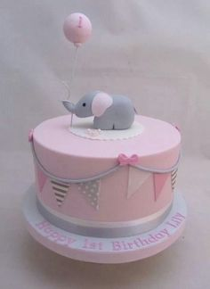 Pink and Gray Elephant Baby Shower Ideas + Party Collection # B .-Rosa und grauer Elefant-Babyparty-Ideen + Party-Sammlung # Babyparty Pink and Gray Elephant Baby Shower Ideas + Party Collection # Baby Shower - 1st Birthday Cake For Girls, Baby Birthday Cakes, Baby Shower Cake For Girls, Cake For Baby Girl, Birthday Ideas, Baby Girl Christening Cake, Elephant Birthday Cakes, Girl Shower Cake, Birtday Cake