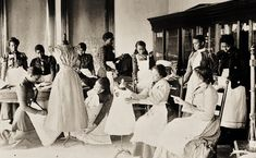 Women Clothes 1800s America | Young women cutting and fitting clothing in class at Agricultural and ...