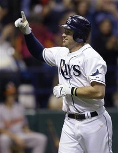Tampa Bay Rays' Evan Longoria reacts after hitting a sixth-inning home run off Baltimore Orioles relief pitcher Jake Arrieta during a baseball game Wednesday, Oct. 3, 2012, in St. Petersburg, Fla. This was Longoria's third home run of the game.