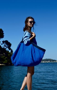 Shopping Bags – BIG BLUE BAG. Very Large Beach Bag. Big Tote. – a unique product by Bientot-Dimanche on DaWanda