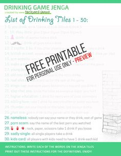 Jenga Drinking Game – Unofficial Rules On How To Play Drunk Jenga! Diy Games, Free Games, Party Games, Games To Play, Party Party, Drinking Jenga Rules, Drinking Games, Drunk Jenga, Unicorns