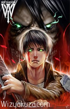 Eren Yeager and Colossal Titan - Attack on Titan - 11 x 17 Digital Print
