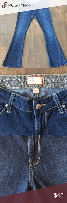 Paige Denim jeans size 28 canyon boot cut Paige denim jeans size 28 canyon boot cut - some extra stretched out  material on front of jeans but can't tell when worn - great jeans with lots of life left in them Inseam: 35 inches Rise: 8 inches Paige Jeans Jeans Boot Cut