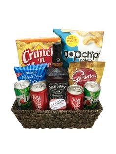 The Jack Daniels Gift Basket is available for same-day delivery in Las Vegas, Nevada. Basket includes everything you need to make a Jack and Coke. Alcohol Gift Baskets, Liquor Gift Baskets, Diy Gift Baskets, Alcohol Gifts For Men, Food Baskets, Wine Baskets, Basket Gift, Regalos Jack Daniels, Jack Daniels Gifts
