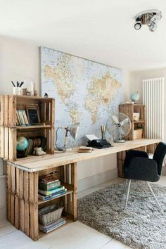 Desk made from crates and reclaimed wood