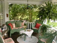Perfect Front Porch home sweet green country porch cozy wicker front