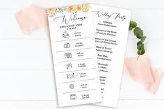 Wedding Program & Order of Events, Wedding Day Schedule, Timeline, Program, Editable Templett Wedding Day Schedule, Wedding Day Timeline, Wedding Vows, Wedding Programs, Our Wedding, Spring Wedding, Rustic Wedding, Bridal Bingo, Bridal Shower Games
