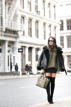 Olive Love :: Shearling jacket & Lace-up sweater | Wendy's Lookbook | Bloglovin'