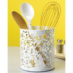 Design Ideas Vinea Utensil Cup, White by Design Ideas. $12.00. Design ideas vinea utensil cup. Made with industrially stamped steel. Coated in durable white epoxy. Design ideas vinea utensil cup these beautiful vinea kitchen accessories add a touch of elegance to organizing. made with industrially stamped steel. coated in durable white epoxy.