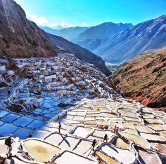 The age-old salt mines in Maras, Peru.