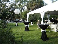 I like have cocktail tables for some people to stand at during ceremony.  Then move the cocktail tables down to reception tent and place outside of tent for people to continue standing at for social area (not where the cocktail hour will be though, cocktail hour at lower patio).