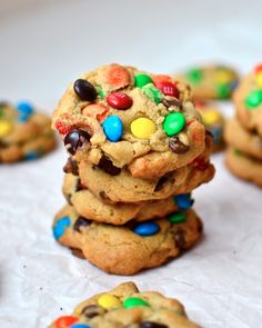 Yammie's Noshery: The Fat Chewy {M&M Cookies} I (Melissa) made these with Fall colored M&Ms. True to the name, they stay fat in the oven and do not flatten out much when you cook them. I love this recipes and the cookies are chock full of M&Ms with a soft nicely textured cookie surrounding.