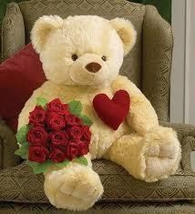 Bear with heart & Valentines Day flowers