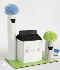 Adorable house and trees made from recycled cardboard tubes and cartons. Fun Crafts For Kids, Diy For Kids, Activities For Kids, Diy And Crafts, Arts And Crafts, Cardboard Tubes, Money Box, Recycled Crafts, Fun Learning