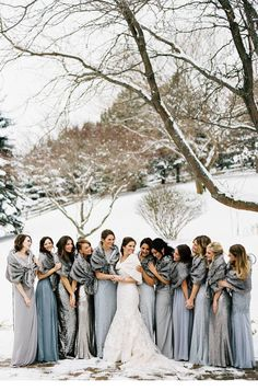 0c3063a74cf different grey shades bridesmaid dresses for winter weddings I like this  color palate. And the