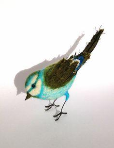 Textile bird  Turquoise Blue tit by PhillipaEngland on Etsy, $87.00
