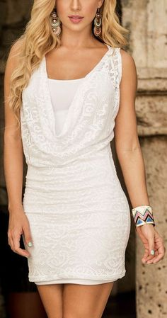 White Lace Overlay Dress //When I get my body right this dress would look great!