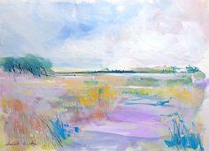 Original Watercolour/ acrylic Landscape Painting -Estuary- by Annabel Burton