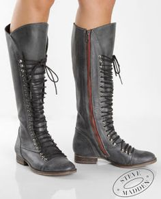 0cbef942511 Steve Madden Perrin Black Leather Red Zipper Lace Up Boots. why must you be  so elusive