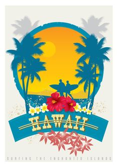 Vintage Travel Poster - Hawaii - Surfing.