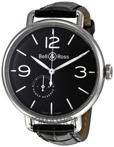 Bell and Ross Reserve De Marche Automatic Black Leather Mens Watch BRWW197BLST