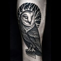 amazing owl tattoo by @kamilczapiga