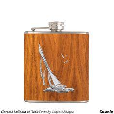 Chrome Sailboat on Teak Print Flask