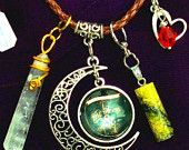 """ENCHANTED Charm / Pendant Necklace -""""To the Moon & Back"""",Crescent MOON,Quartz Crystal,Brown leather,Sterling Heart,Red Swarovski,RedRobinArt"""