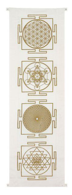 Four yantra banner includes the symbols: flower of life, metatrons cube, sahashara and sri yantra. Sacred Geometry Art, Sacred Art, Tantra, Bracelet Bras, Motif Oriental, Sacred Symbols, Yoga Symbols, Geometric Art, Geometric Symbols