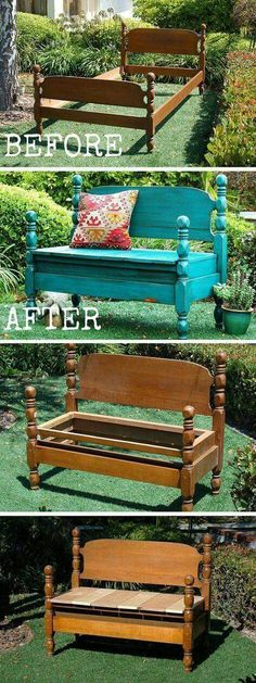 Diy bench - Old furniture Transformation 10 Amazing DIY Furniture Transformations Oldfurniture Transformation Old Furniture, Refurbished Furniture, Repurposed Furniture, Furniture Projects, Furniture Makeover, Diy Projects, Outdoor Furniture, Garden Furniture, Decoupage Furniture