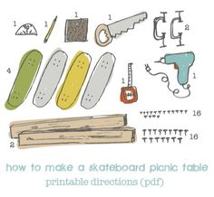 Childrens Skateboard Picnic Table PDF via Etsy