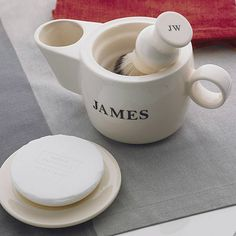 Chris - personalised shaving scuttle and soap dish by sculpta ceramics £55