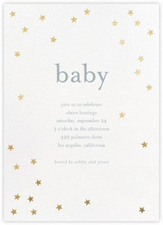 Paperless Post - Scattered Stars - White/Gold by Sugar Paper White Baby Showers, Couples Baby Showers, Simple Baby Shower, Star Baby Showers, Baby Shower Fall, Gender Neutral Baby Shower, Baby Shower Themes, Shower Ideas, Baby Shower Invitation Templates