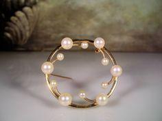 1960s, Pearl Brooch, 14K Pearl Brooch, Cultured Pearls, Cultured Pearl Brooch, Round Pearl Brooch, 14K Yellow Gold Brooch, Vintage Brooch by CarolsVintageJewelry on Etsy