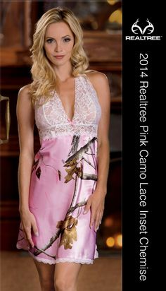 Transform every night into a blissful escape with luxurious Black Widow lingerie. This Realtree® camo halter chemise features a side slit, adjustable racerback straps, and lace cups and trim. The Realtree Pink Camo Halter Chemise is made of 100% polyester sateen. Machine wash. #Realtreecamo