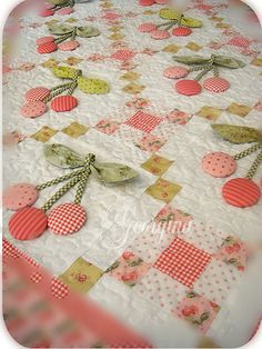 Sweet cherry quilt-no tutorial-love the cherry buttons!