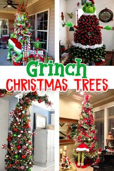 Grinch Christmas Tree decorating ideas and more fun and easy DIY Grinch decorations including Whoville Christmas Decorations DIY–How the Grinch Stole Christmas Decorations and much more! Grinch Christmas Tree Decorations, Grinch Christmas Party, Ribbon On Christmas Tree, Simple Christmas, Christmas Crafts, Christmas Ornaments, Grinch Ornaments, Christmas Trees, Christmas Recipes