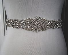 Beaded bridal sash crystal wedding belt sash by WestaireBridal