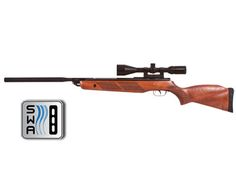Gamo Hunter Extreme SE air rifle  Spring-piston  Breakbarrel  Bull barrel with metal jacket  Beech stock with twin raised cheekpieces (ambidextrous)  Checkered forearm and pistol grip  11mm optics dovetail (no open sights)  Manual safety  58 lbs. cocking effort  2-stage adjustable trigger  4.5 lbs. trigger-pull  SWA (Shock Wave Absorber) recoil pad reduces felt recoil by up to 74%  Includes mount, 3-9x50 scope with illuminated dot reticle (scroll down for scope specs)      Scope specs…