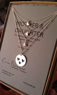Mother 3 Daughters Necklace Set. Inspirational by erinpelicano  *Mom's birthday present <3 I think adding a little stone charm, a different colour everyone, would look lovely too