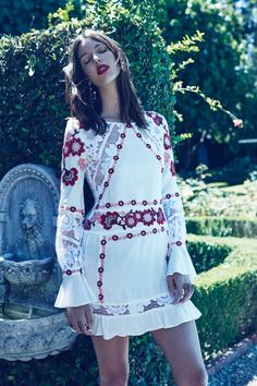 Ruby Aldridge poses in Cecilia dress from For Love & Lemons spring 2016 collection
