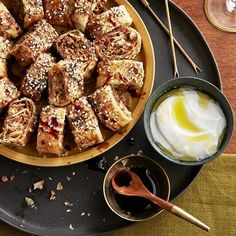 You can make your own pastry for these Turkish sausage rolls, but they Party Food Meat, Party Snacks, Potatoe Skins Recipe, Potato Skins, New Year's Eve Appetizers, Appetizer Recipes, Party Recipes, Cocktail Party Food, Sausage Rolls